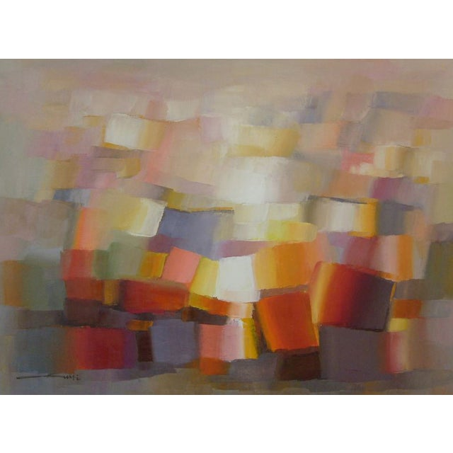 Image of Abstract Oil on Canvas Painting