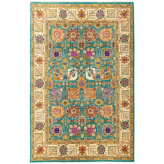 """Eclectic, Hand Knotted Turquoise Floral Wool Area Rug - 6' 1"""" X 9' 2"""""""