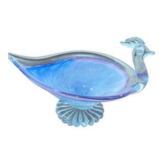 Handblown Blue Glass Peacock Dish