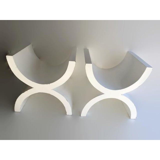 Image of 1970s Vintage Swanky X Stools Large Parsons - Pair