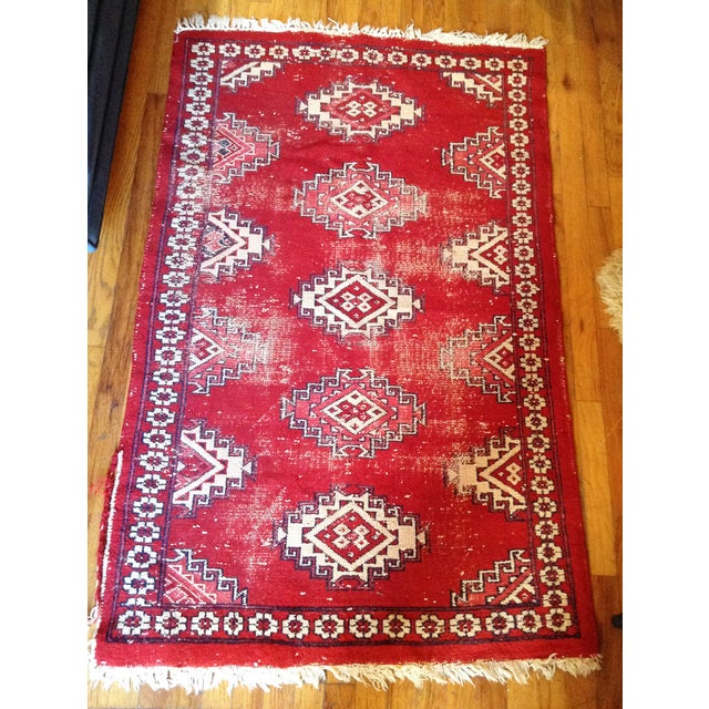 "Image of Red & White Hand Knotted Wool Rug - 3'1"" X 5'"