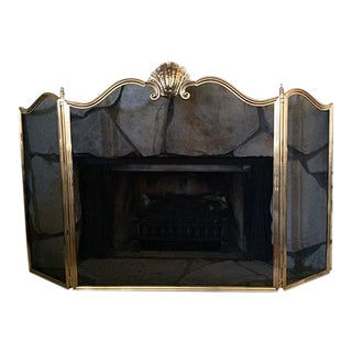 Italian Solid Cast Brass Fireplace Screen With Shell Motif
