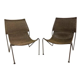 Wicker Sling Back Chairs - A Pair