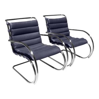 Mies Van Der Rohe for Knoll Mr Lounge Armchairs in Navy - a Pair