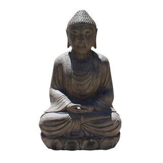 Chinese Stone Sitting Buddha Amitabha Shakyamuni Statue