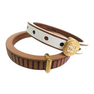Fendi Wood & Metal Bangle Bracelets - A Pair