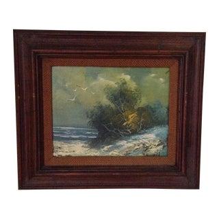 Vintage Oil on Board Seascape Painting