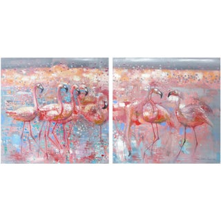 Flamingos Diptych Oil Paintings - A Pair