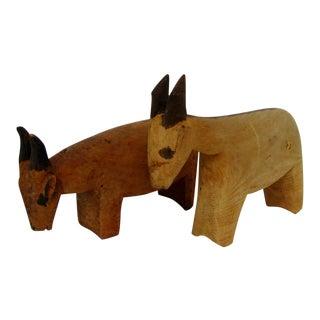 Rustic Wood Goats - A Pair