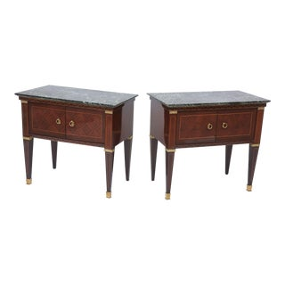 Pair of Italian Modern Rosewood and Walnut Inlaid Nightstands, Paolo Buffa