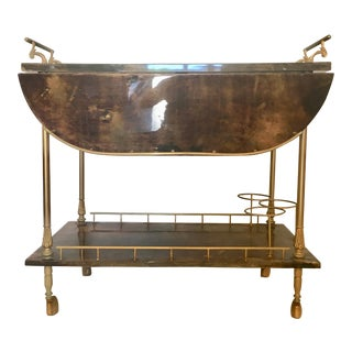 Aldo Tura Parchment Drop Leaf Bar Cart