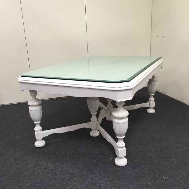 Image of White Dining Table With Glass Top