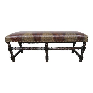 English Walnut Six-Legged Embossed Leather Bench