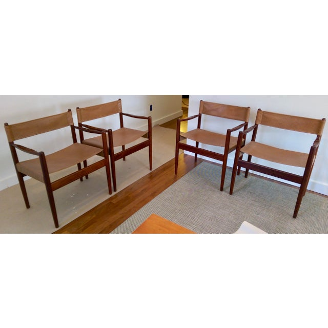 Arne Norell-Style Safari Sling Rosewood Chairs - Set of 4 - Image 7 of 8
