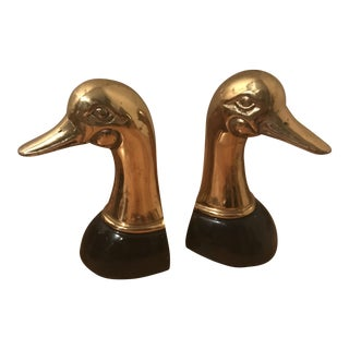 Brass & Black Duck Head Bookends - A Pair