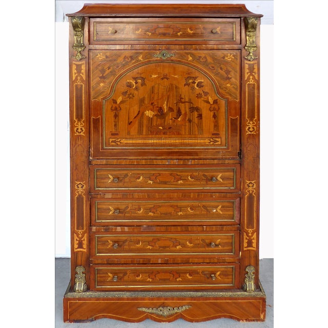 Antique French Style Marquetry Secretary - Image 2 of 11