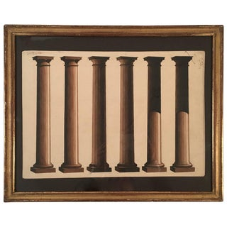 Neoclassical Architectural Watercolor Study of Shadows on Columns