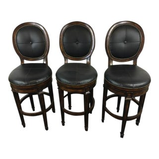 Contemporary Carved Wood & Leather Upholstered Bar Stools - Set of 3