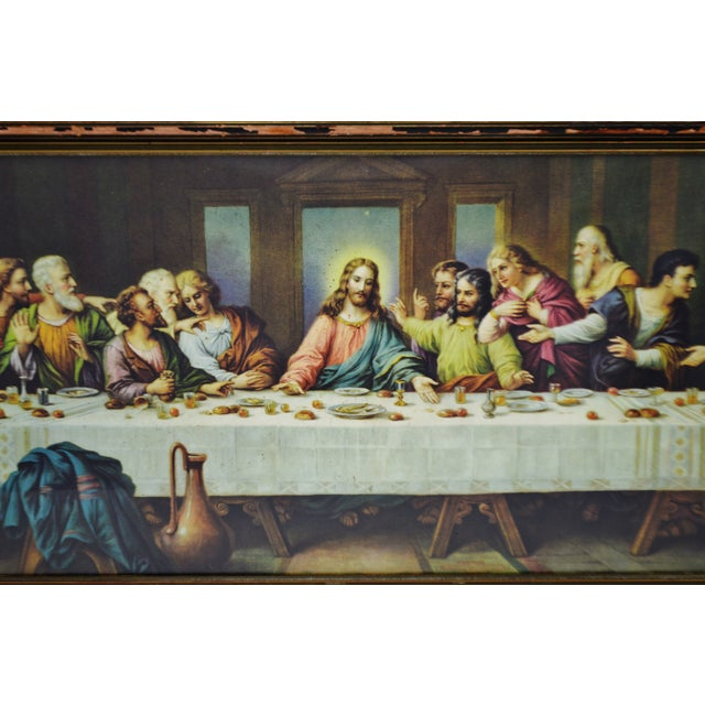 Early H. Zabateri Framed Last Supper Print - Image 3 of 10