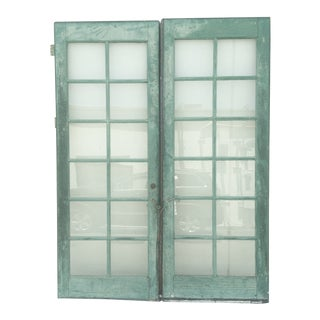 Vintage Painted French Doors 12-Pane Glass - Pair