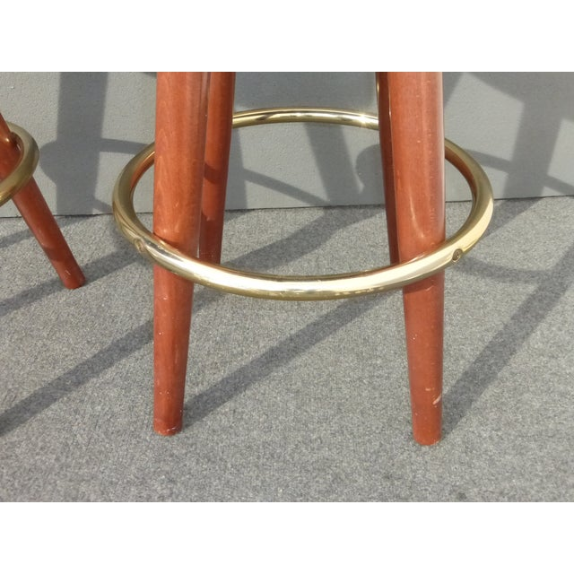 Mid-Century Modern Brown Vinyl Bar Stools - A Pair - Image 10 of 11
