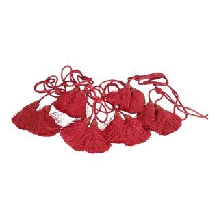 Red Velvet Scalamandre Silk Knitted Curtain Tassels - Set of 6