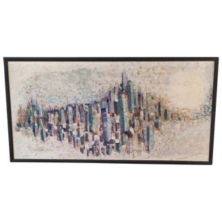 Mid-Century Abstract Cityscape Painting
