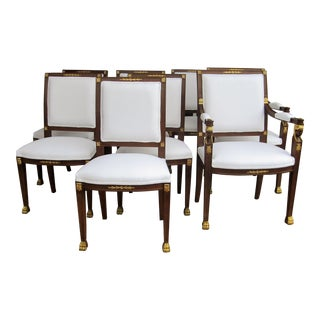 Elegant Empire Carved Gold Dining Chairs - Set of 8