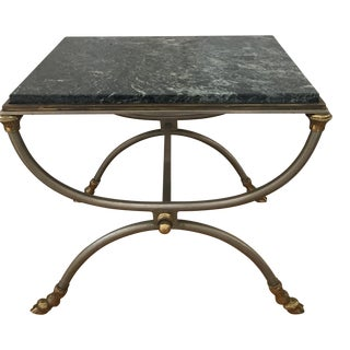 Vintage Italian Steel & Brass Gilt Footstool