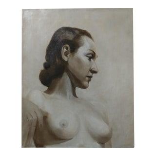 1920s Black & White Movie Actress Oil Portrait