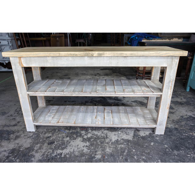 Gray Reclaimed Wood Console Two Shelf Table With Light Distress - Image 4 of 8