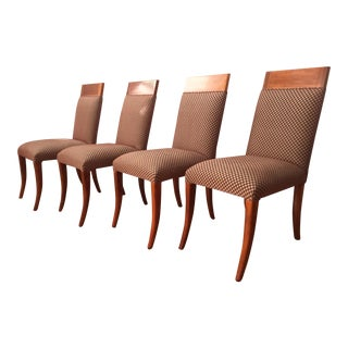 Sergio Savarese Dialogica High Back Wood and Fabric Dining Chairs - Set of 4