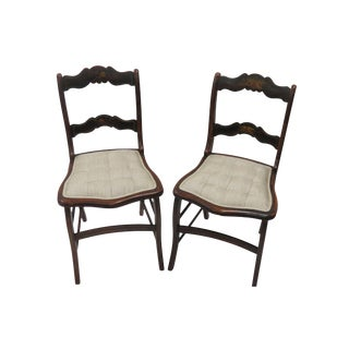 Wood Frame Side Chairs - A Pair