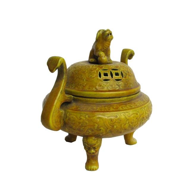 Image of Chinese Yellow Glaze Ceramic Incense Burner
