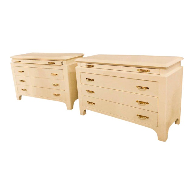 Karl Springer Style Linen Wrapped Commodes or Chests - A Pair - Image 1 of 11