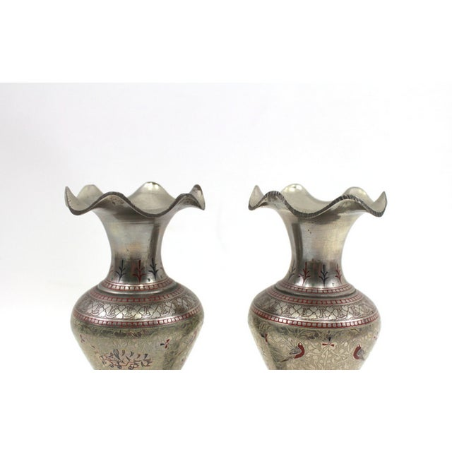 Image of 1930s Bohemian Metal Inlaid Vase Set - A Pair