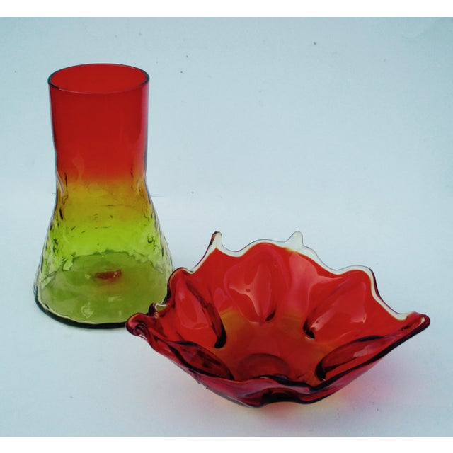 Mid-Century Modern 1960s Orange & Yellow Blenko Glass Vase - Image 3 of 9