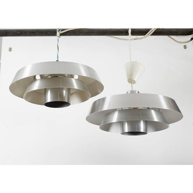 Danish Aluminum Pendent Lamp by Jo Hammerborg, Pair - Image 5 of 8