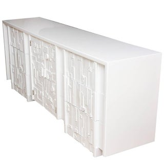 White Lacquered Sculptural Louise Nevelson Style Dresser or Cabinet