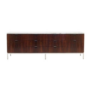 Exceptional Florence Knoll Marble-Top Rosewood Credenza
