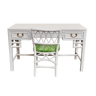 Ficks Reed Bamboo Lacquered White Desk & Chair