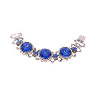 Blue Rhinestone & Faux-Pearl Bracelet