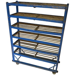 Blue Painted Bakery Cart Stand with Wheels