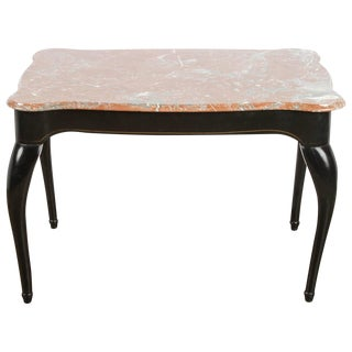 19th c. Danish Black Table with Marble Top
