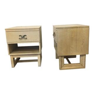 Modern Blond Wood Nightstands- A Pair
