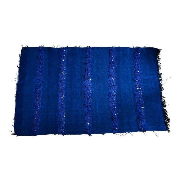 Handmade Blue Moroccan Rug - 3′6″ × 5′9″ - Image 1 of 4