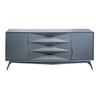 1960's Re-Imagined Steel Grey Metallic Lacquer 9-Drawer Dresser by ALBE Fine Furniture