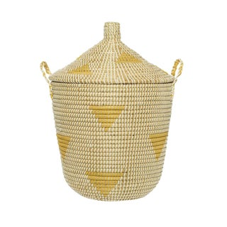 Yellow Teepee Lidded Basket