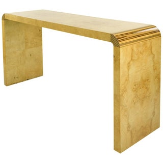 Henredon Modern Console Waterfall Table, Burled Wood