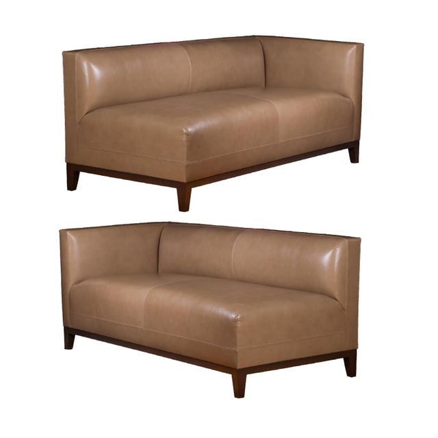 Custom Two-Piece Luxury Taupe Leather Sectional - Image 1 of 4